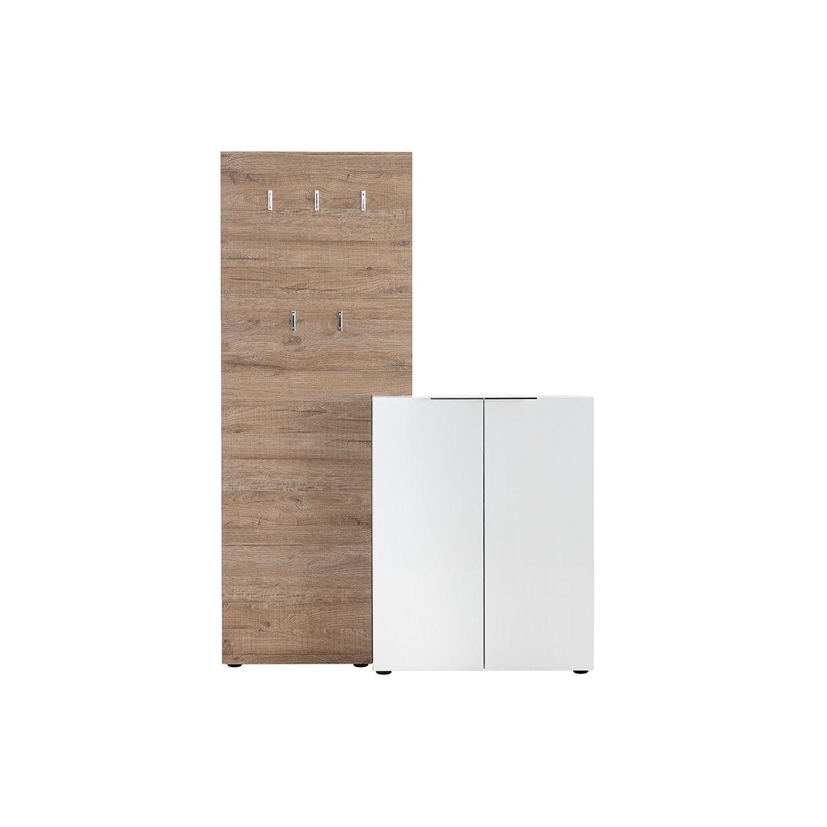 Miliboo Meuble d'entrée bois blanc laqué avec armoire et étagère porte-manteau HALL