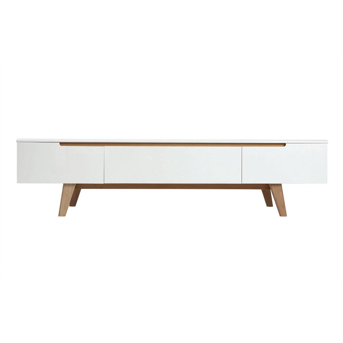Miliboo Meuble TV scandinave blanc brillant et frêne 180cm MELKA