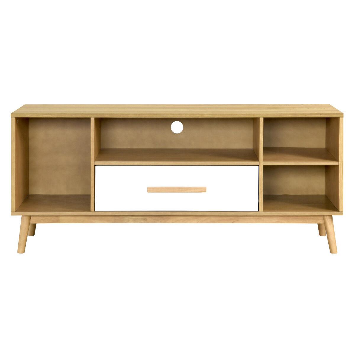 Miliboo Meuble TV scandinave bois clair et blanc 1 tiroir TALIA