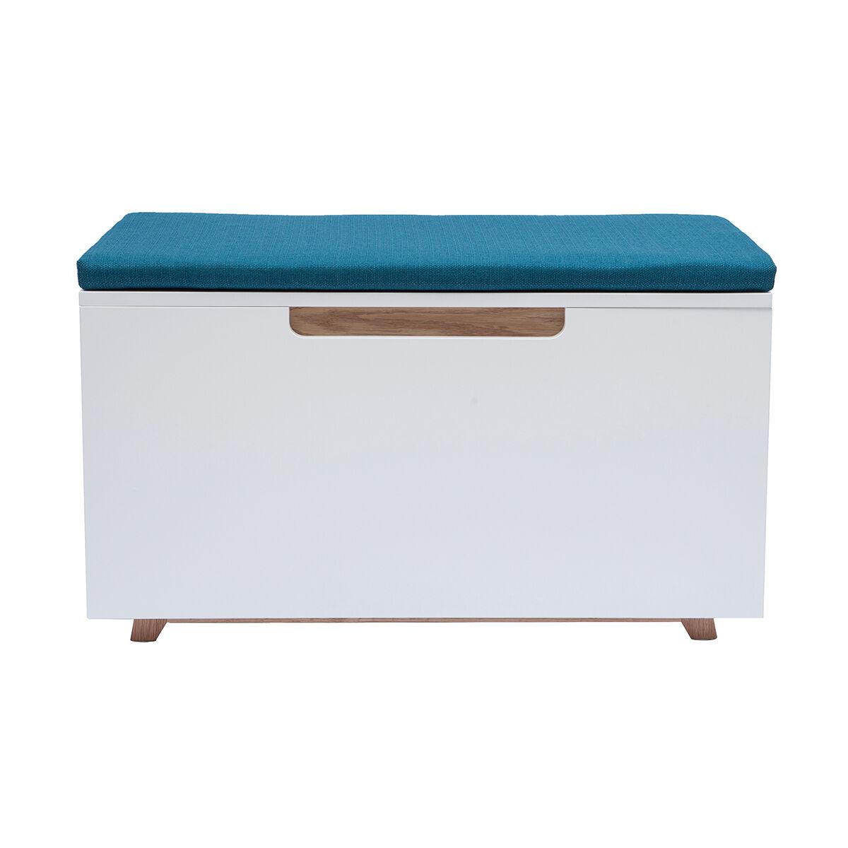 Miliboo Banc maison de toilette pour chat bois clair et bleu canard O'MALLEY