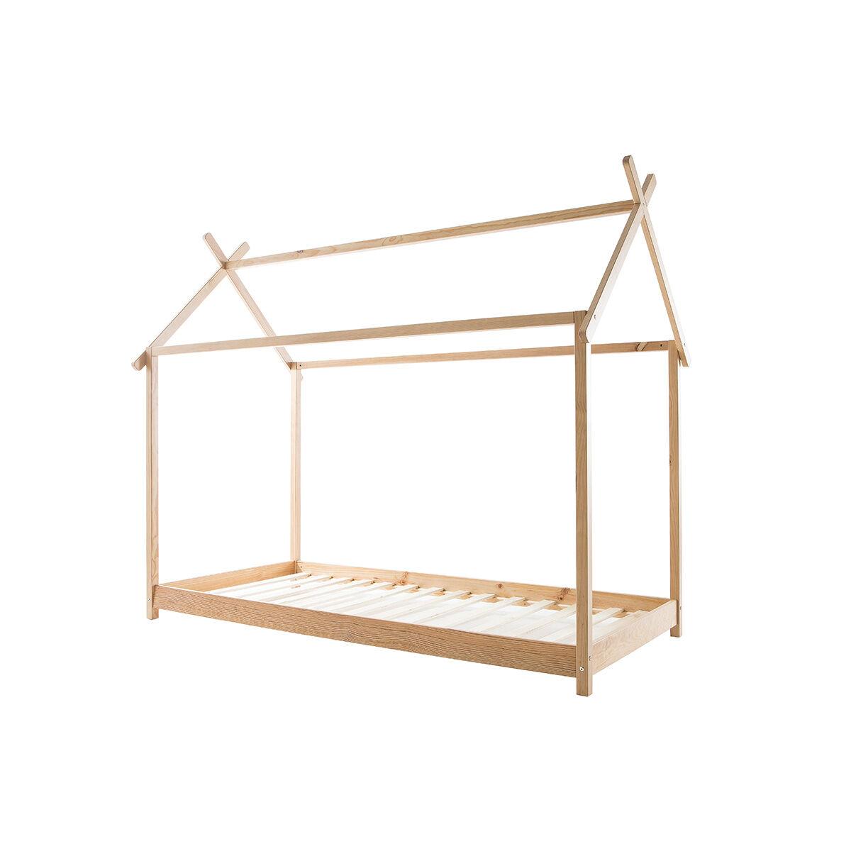 Miliboo Lit cabane enfant avec sommier 90 x 200 cm en bois KBANE