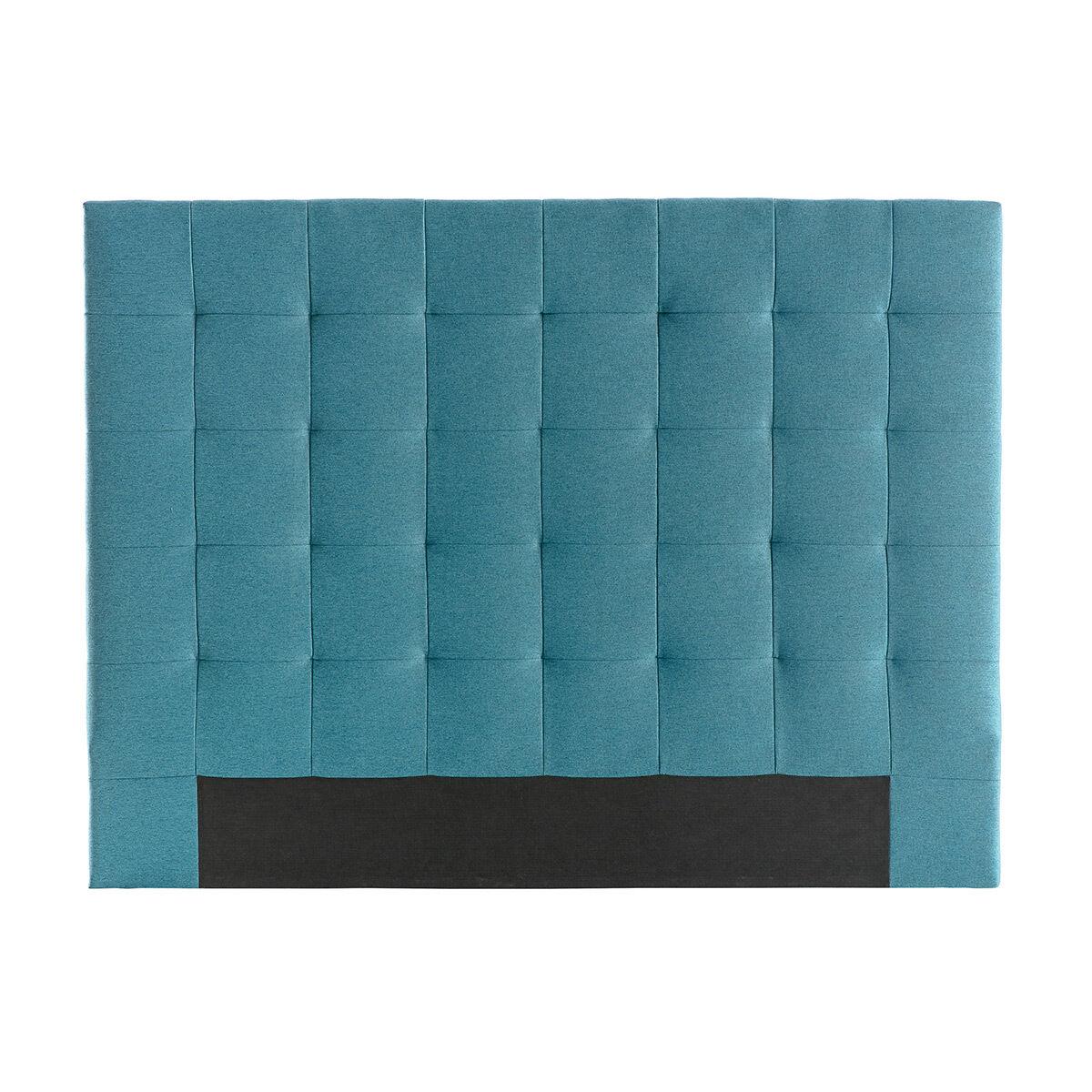 Miliboo Tête de lit capitonnée en tissu bleu canard 140 cm HALCIONA