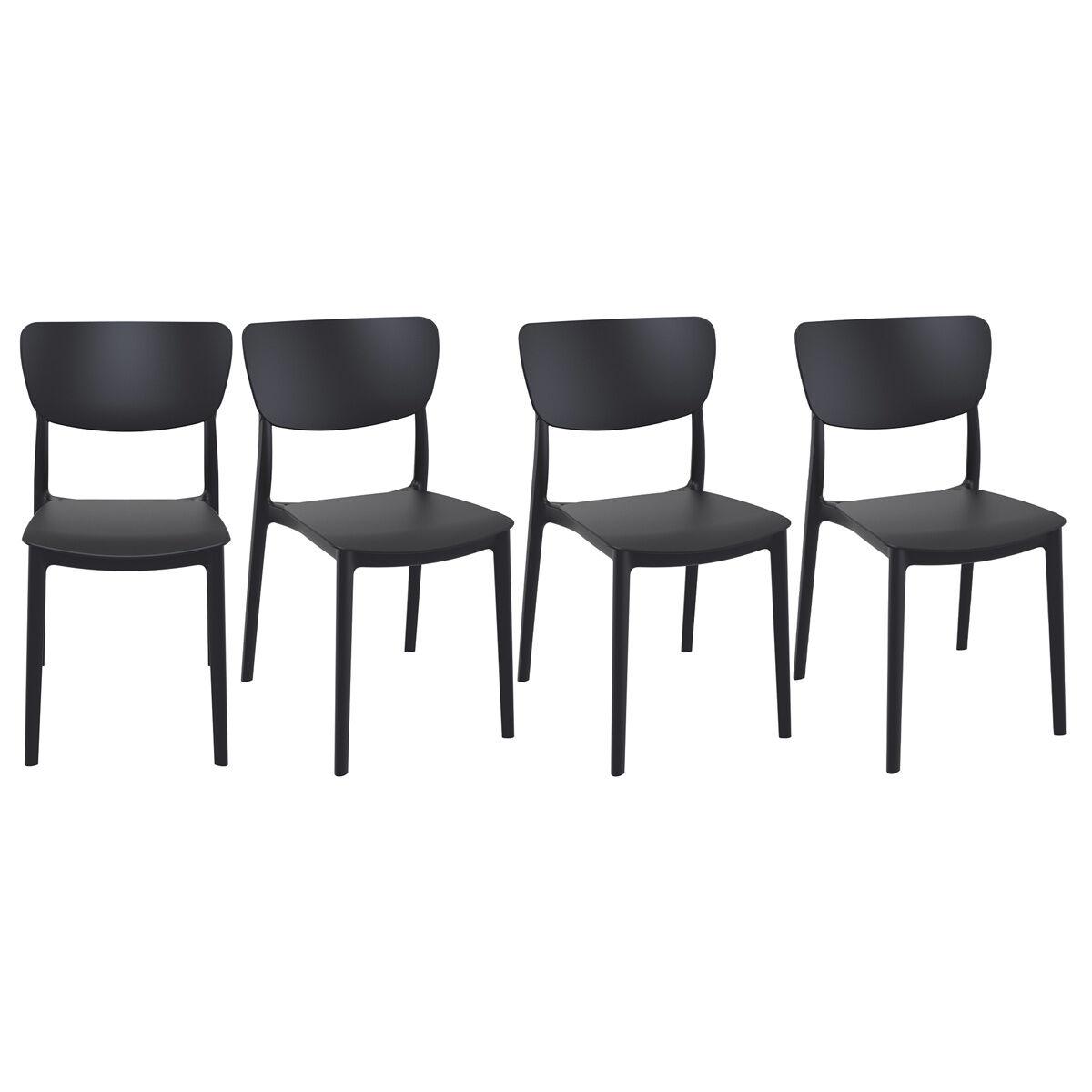 Miliboo Chaises empilables noires intérieur / extérieur (lot de 4) COBB
