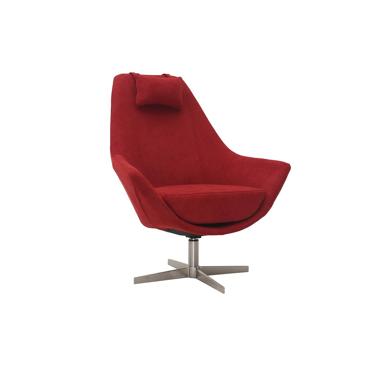 Miliboo Fauteuil design en tissu rouge et pied métal AMADEO