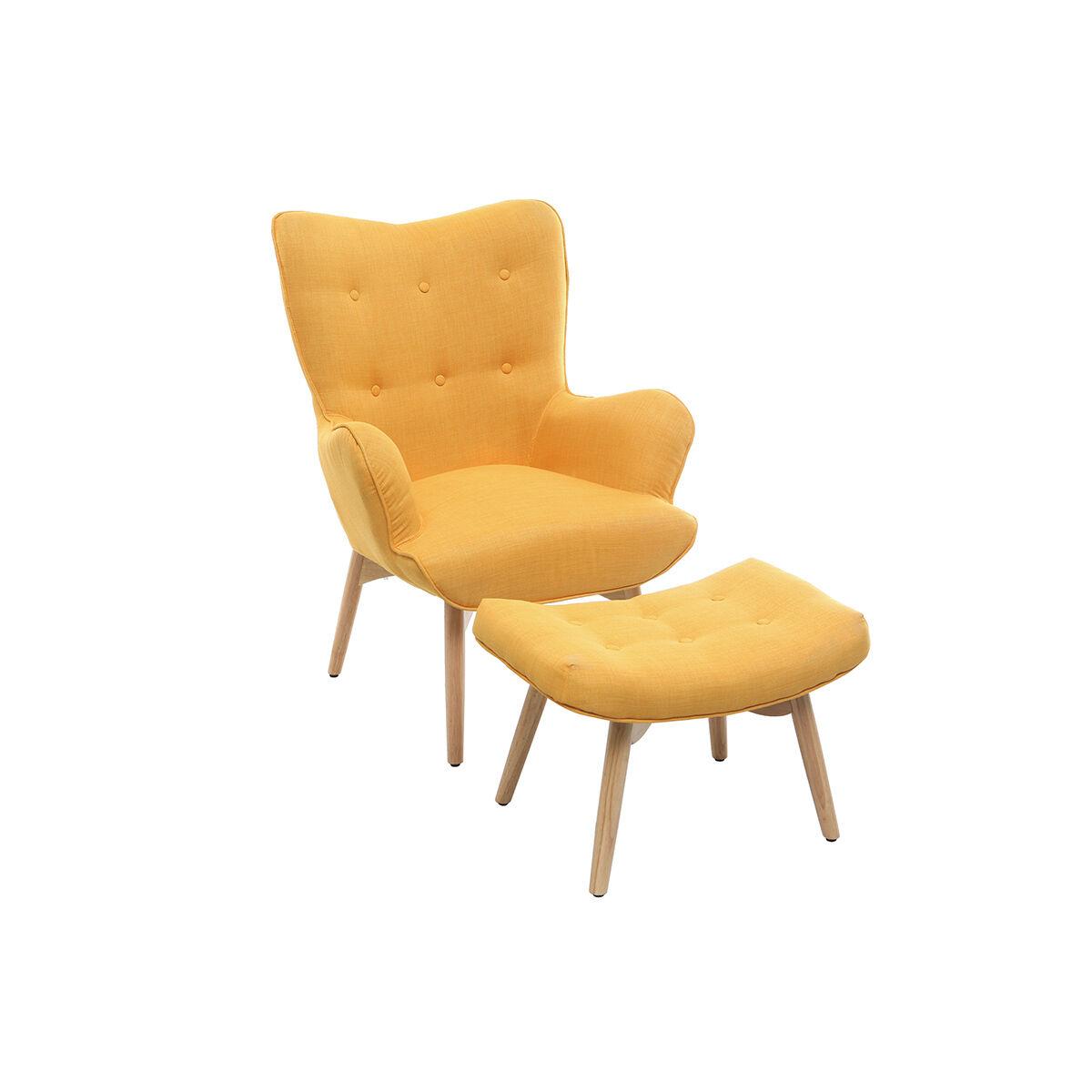 Miliboo Fauteuil design scandinave et son repose pied jaune et bois clair BRISTOL