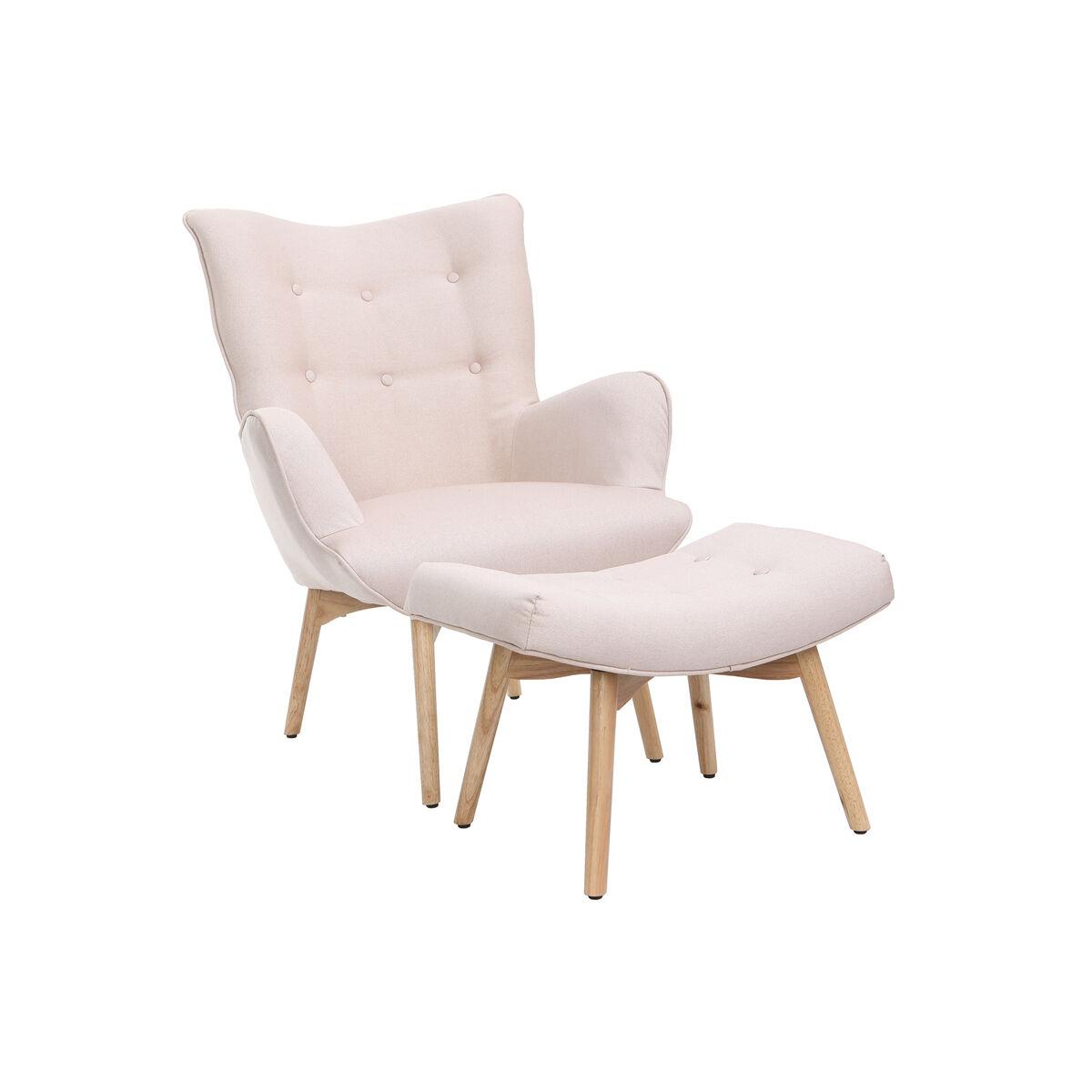 Miliboo Fauteuil design scandinave et son repose pied rose poudré et bois clair BRISTOL