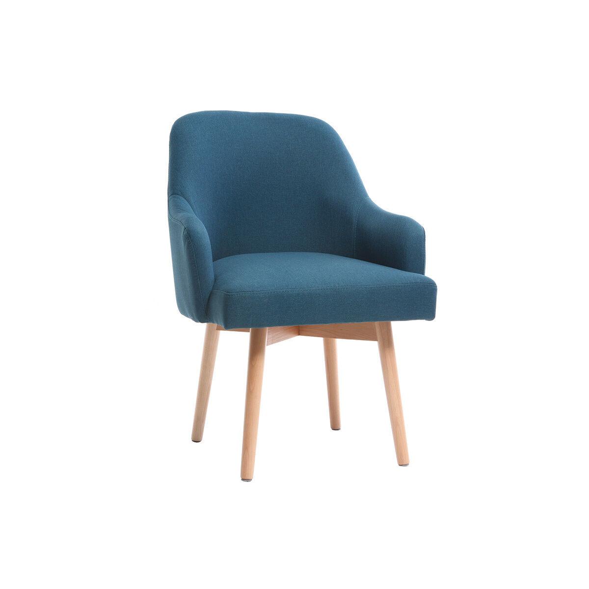 Miliboo Fauteuil scandinave bleu canard et bois clair MONA