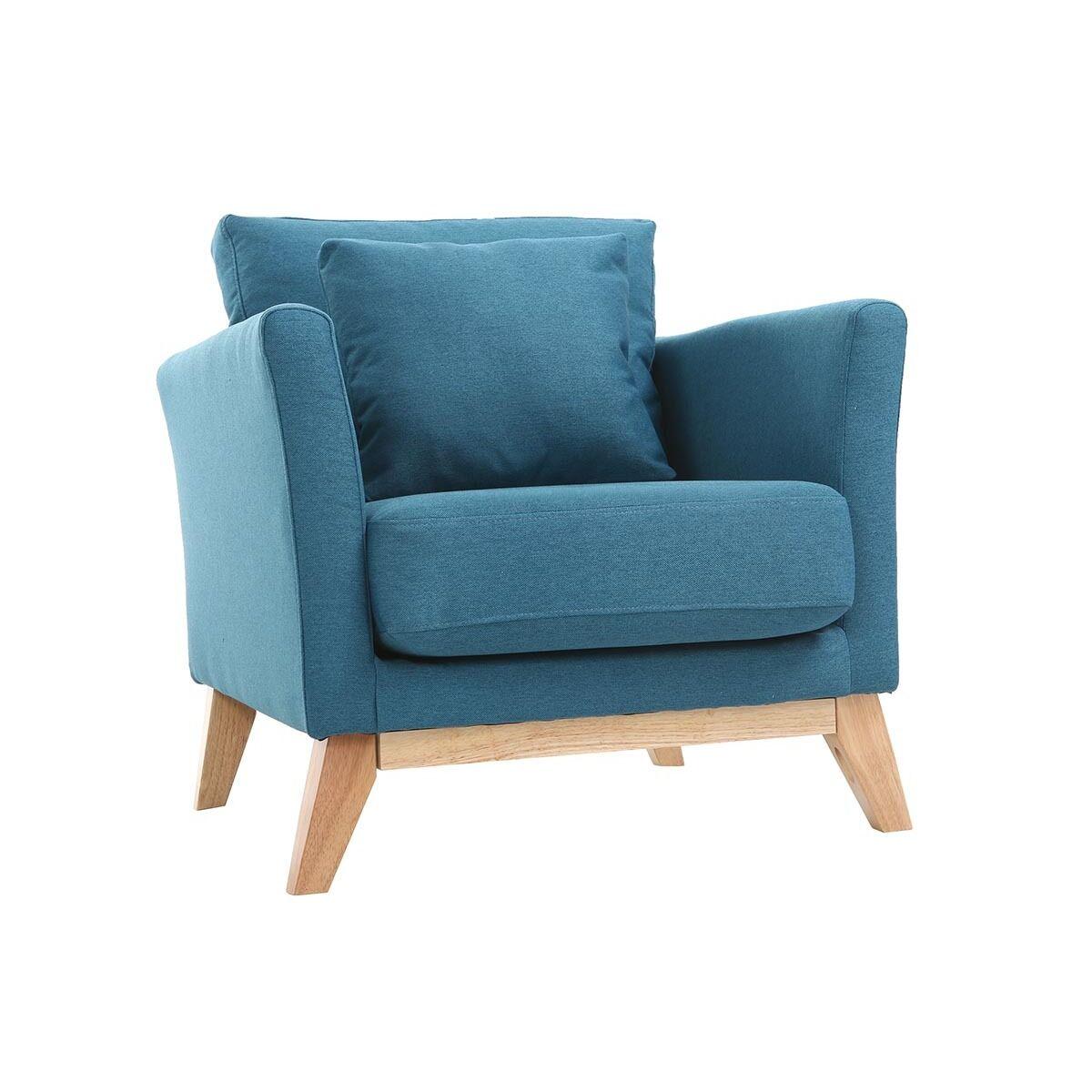 Miliboo Fauteuil scandinave déhoussable bleu canard et bois clair OSLO