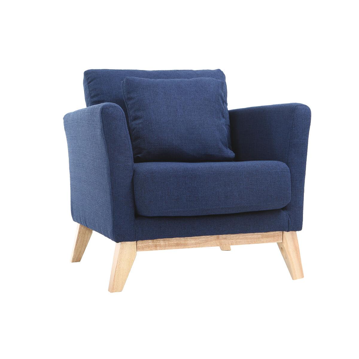 Miliboo Fauteuil scandinave déhoussable bleu foncé OSLO