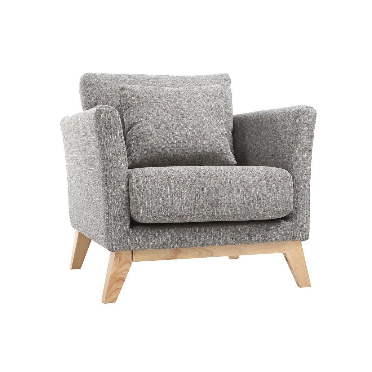 Miliboo Fauteuil scandinave déhoussable gris clair et pieds bois clair OSLO