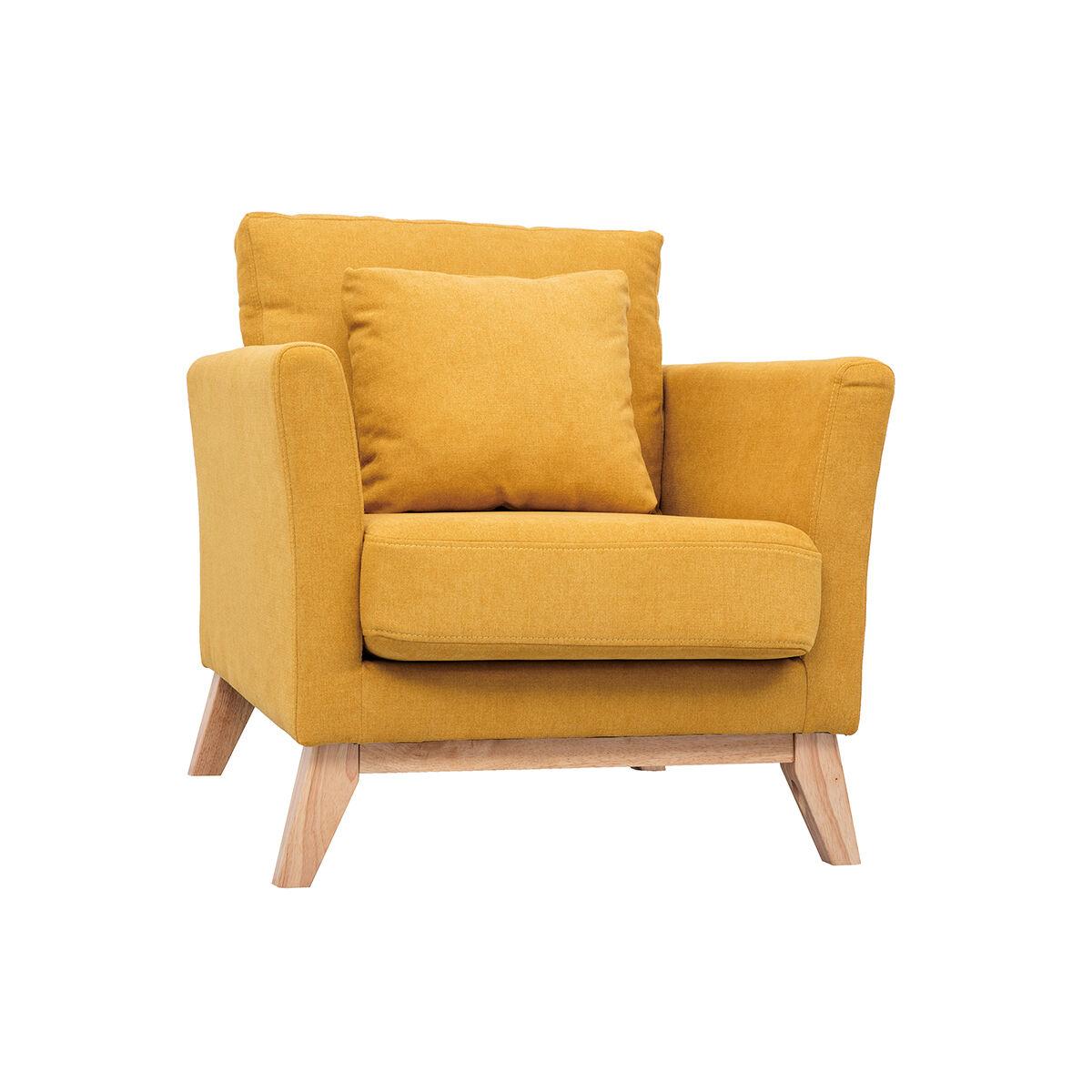 Miliboo Fauteuil scandinave déhoussable tissu effet velours jaune moutarde OSLO