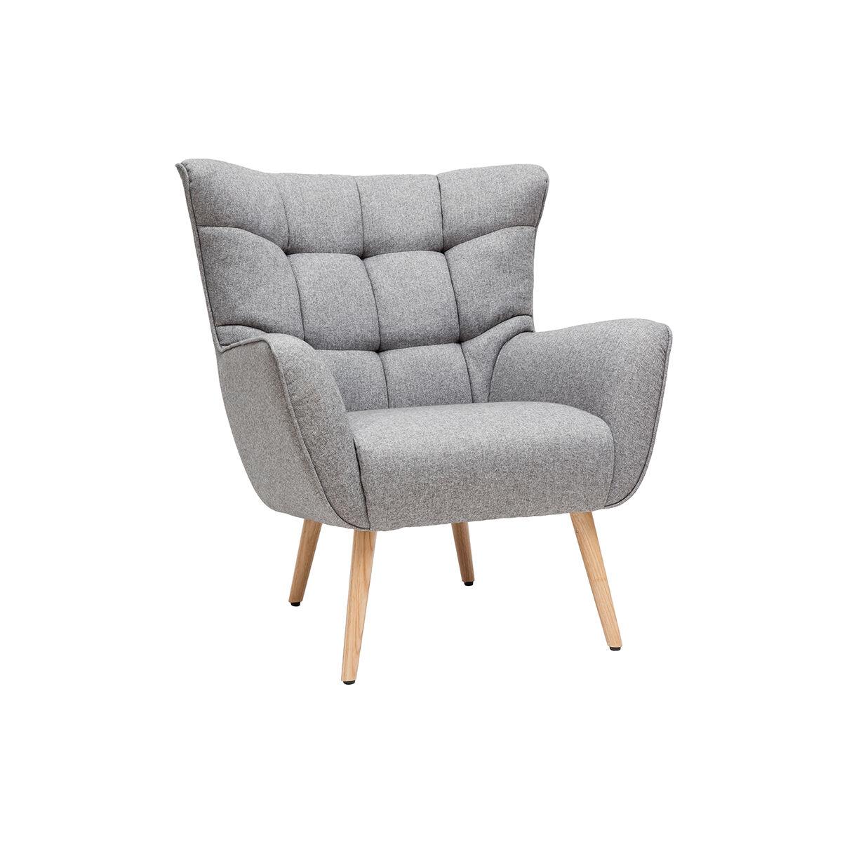 Miliboo Fauteuil scandinave en tissu gris clair et bois AVERY - Miliboo & Stéphane Plaza