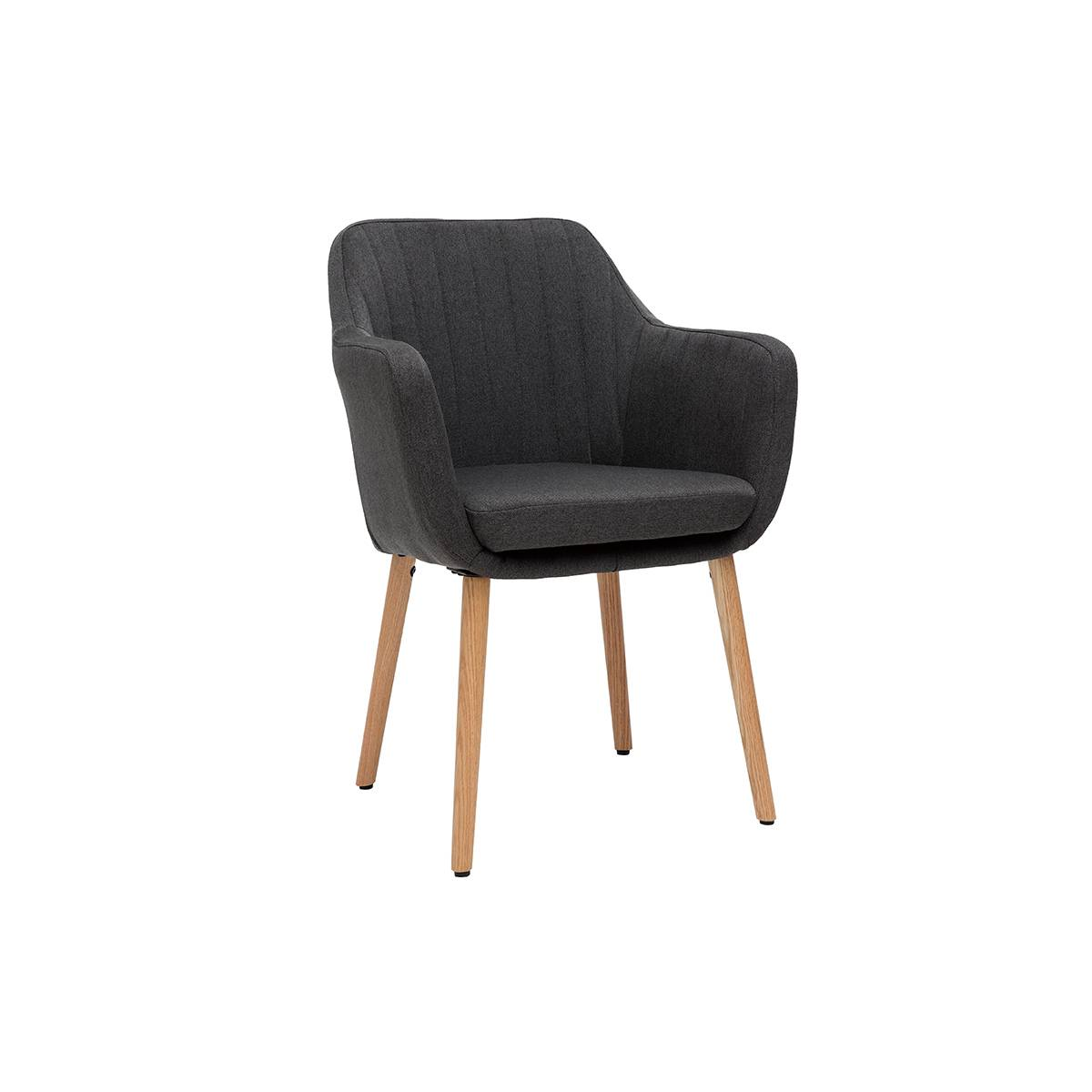 Miliboo Fauteuil scandinave gris anthracite et pieds chêne ALEYNA