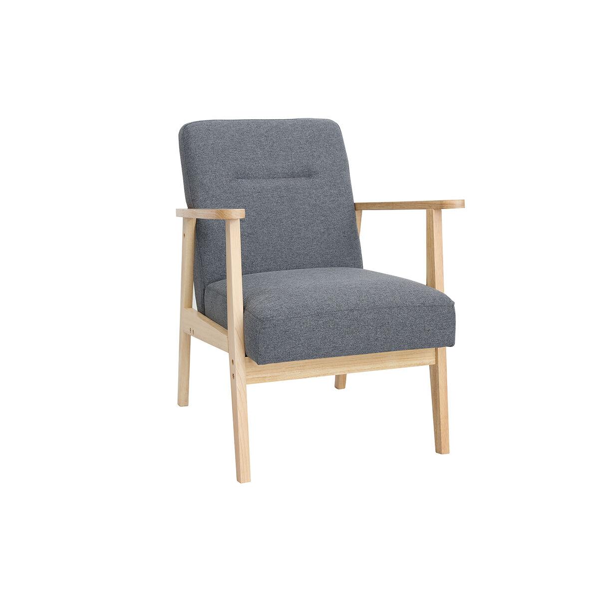 Miliboo Fauteuil scandinave gris et bois clair ABYSS