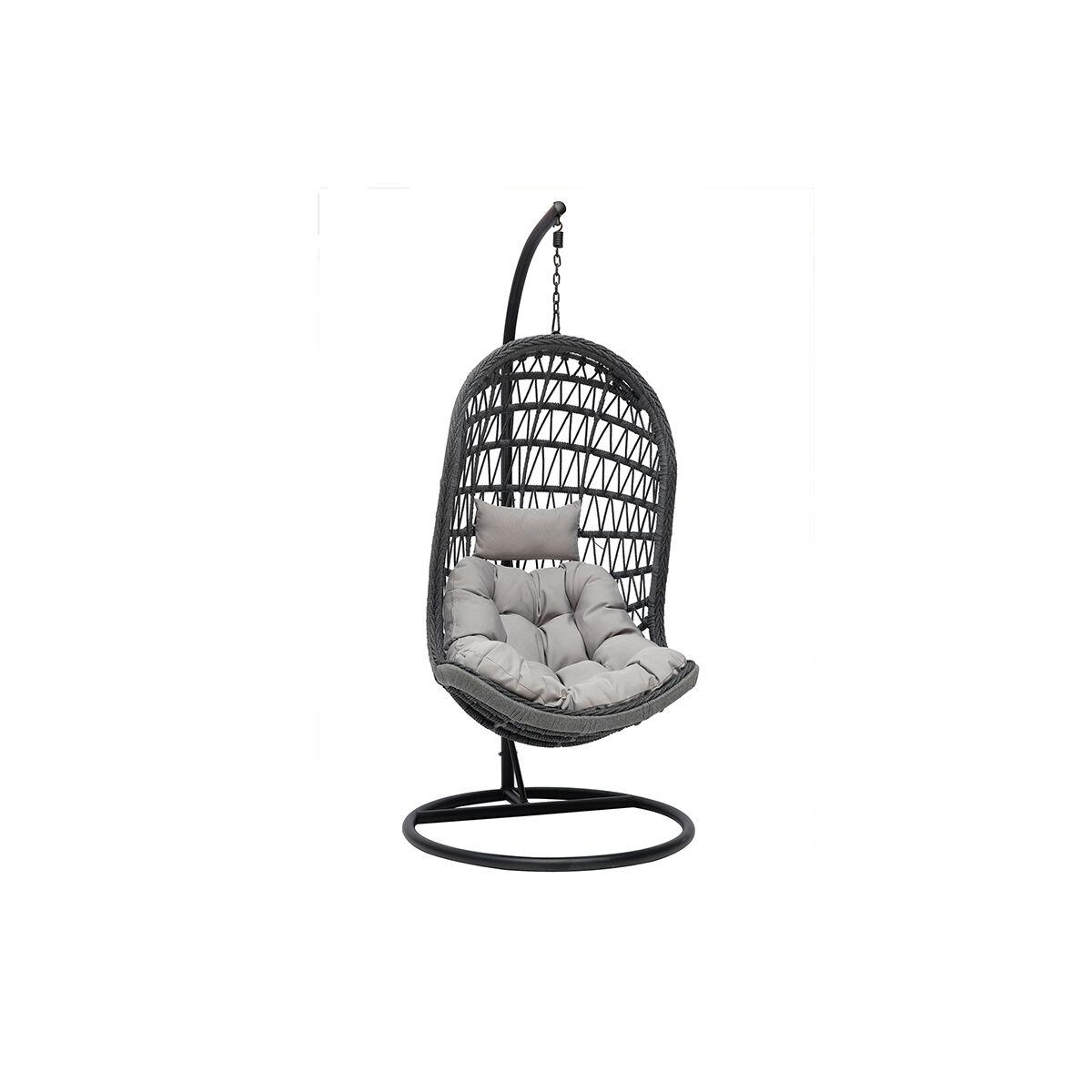 Miliboo Fauteuil suspendu intérieur/extérieur en corde grise et métal BAIA