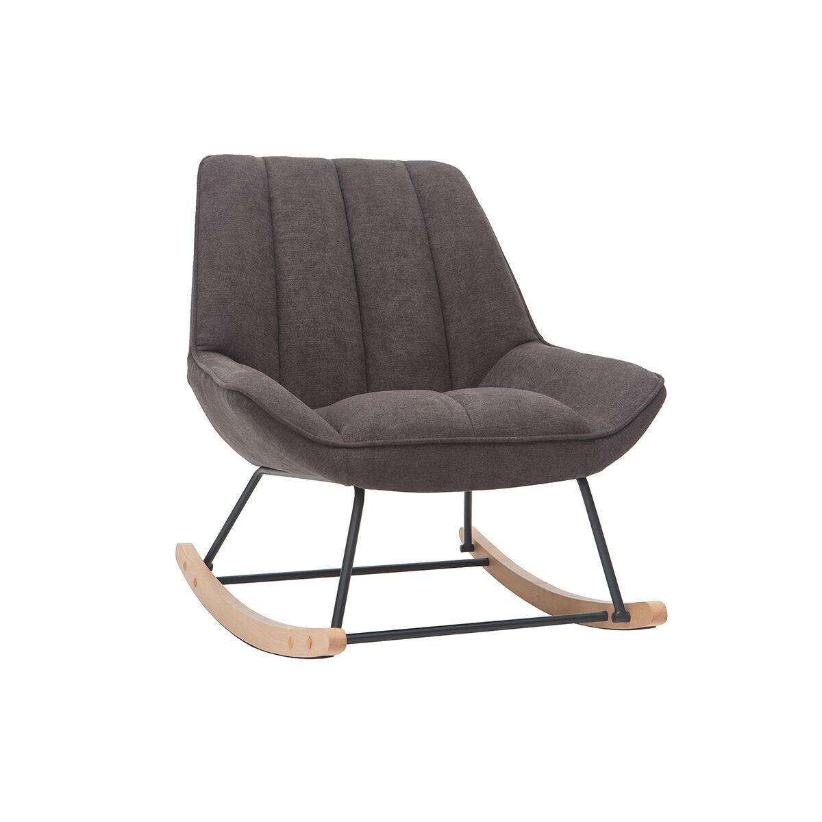 Miliboo Rocking chair design en tissu effet velours gris foncé BILLIE