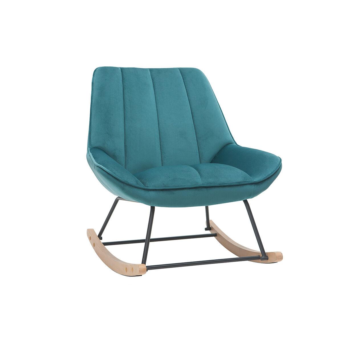 Miliboo Rocking chair design en velours bleu pétrole BILLIE