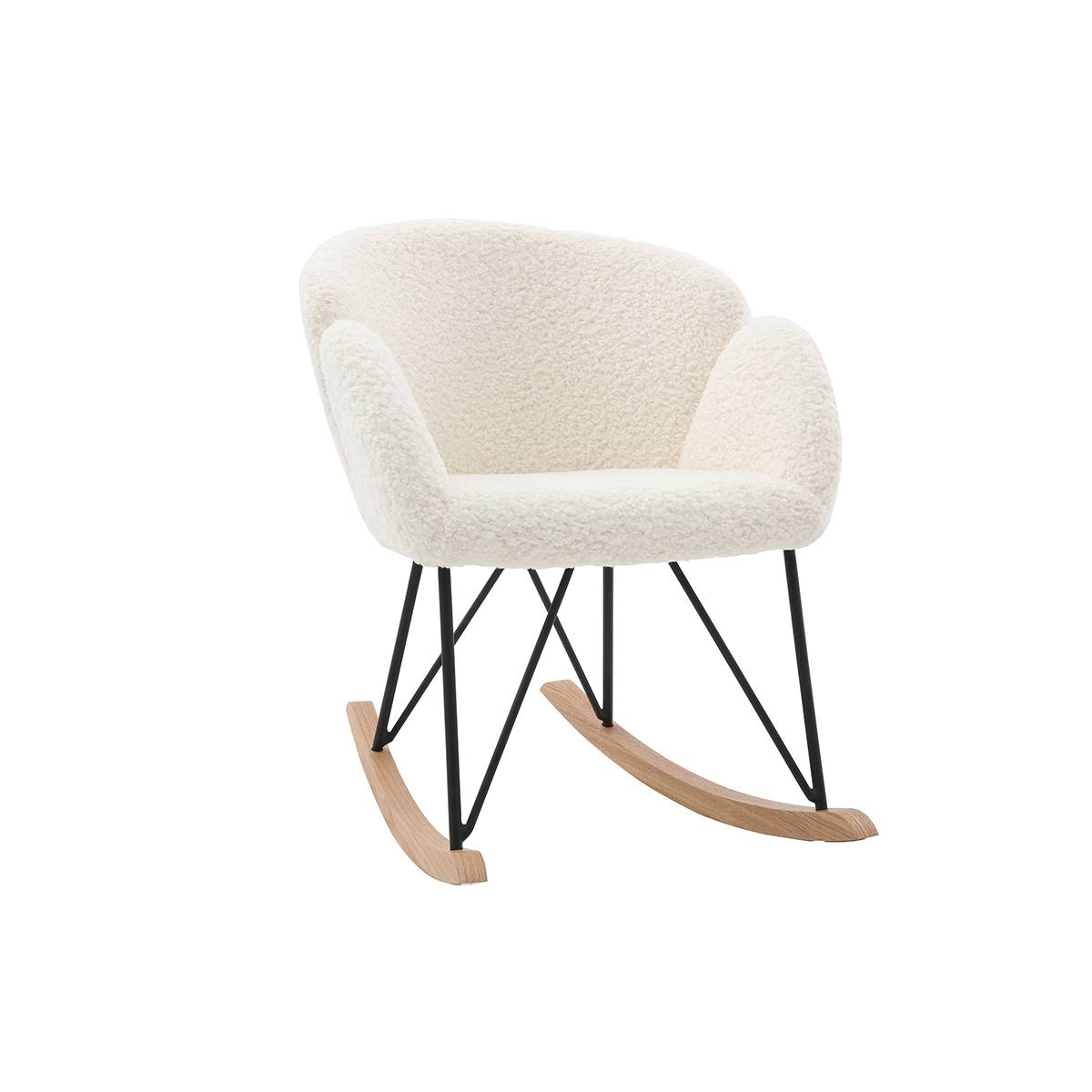 Miliboo Rocking chair design tissu blanc effet laine bouclée RHAPSODY - Miliboo & Stéphane Plaza