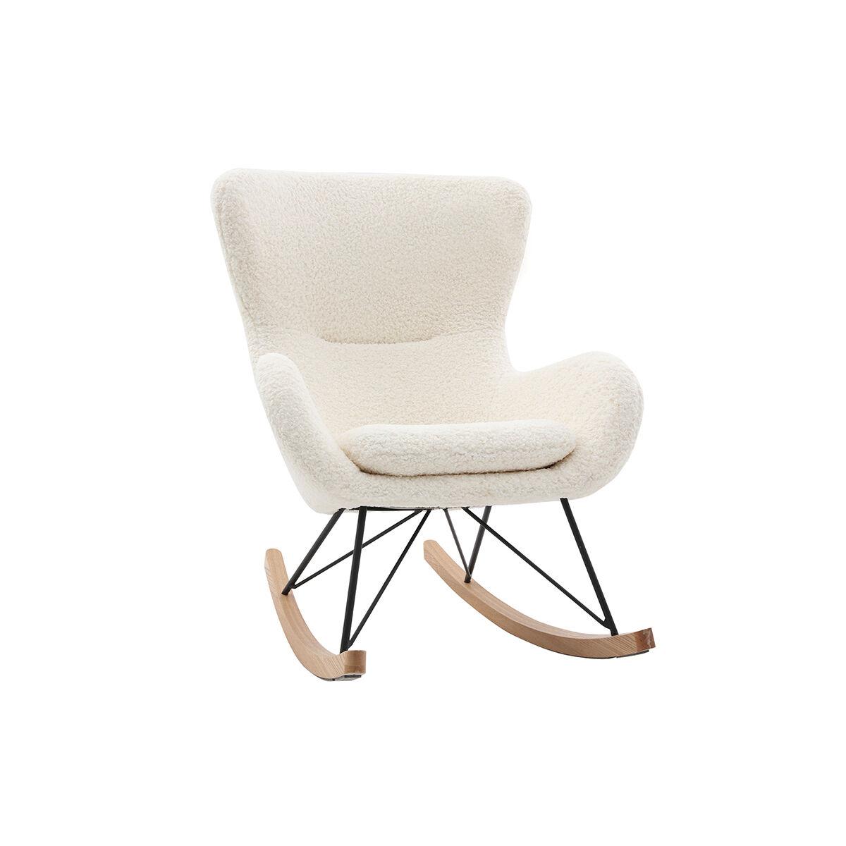 Miliboo Rocking chair design tissu blanc effet peau de mouton ESKUA