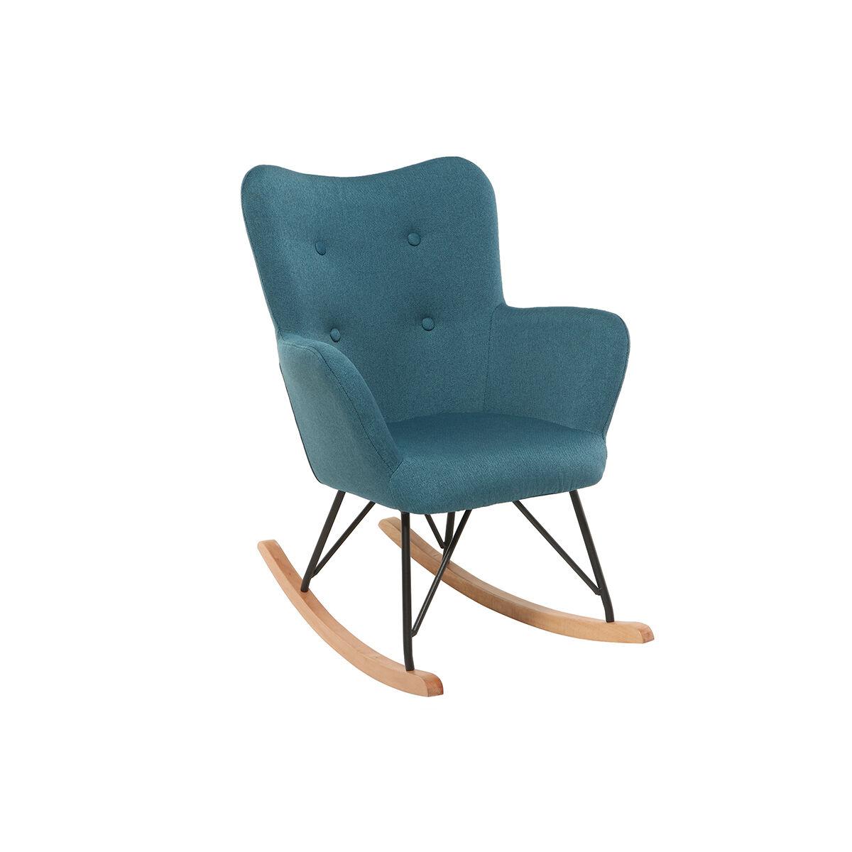 Miliboo Rocking chair design tissu bleu canard pieds métal et chêne BABY BRISTOL
