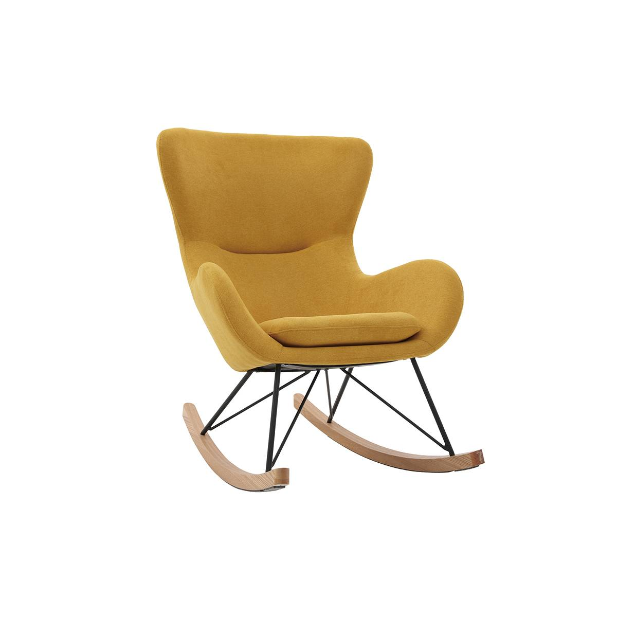 Miliboo Rocking chair design tissu effet velours jaune moutarde ESKUA