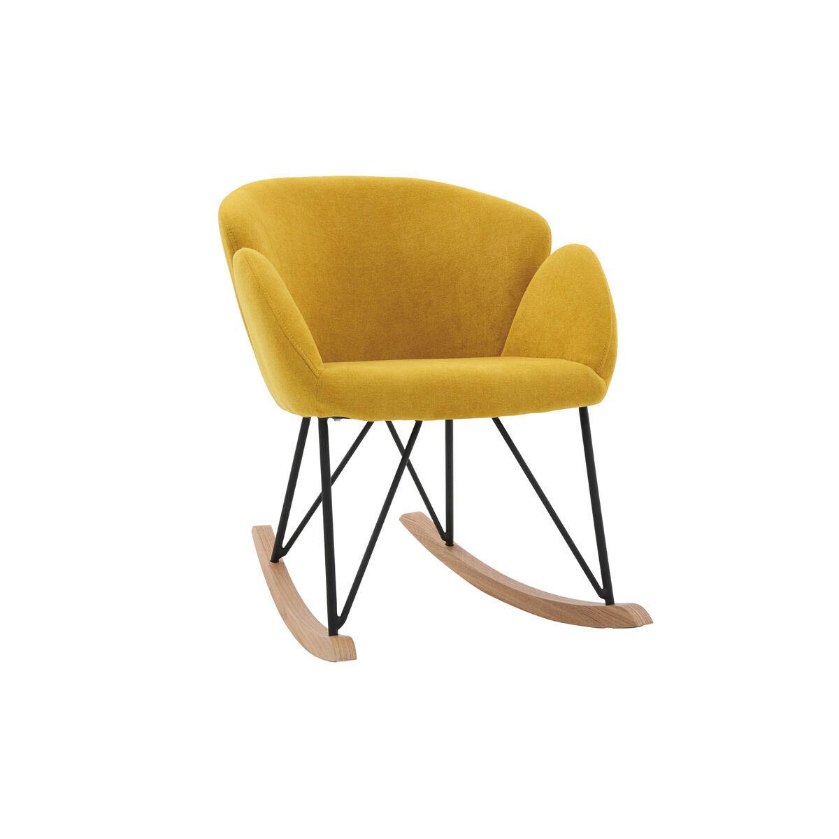 Miliboo Rocking chair design tissu effet velours jaune moutarde RHAPSODY - Miliboo & Stéphane Plaza