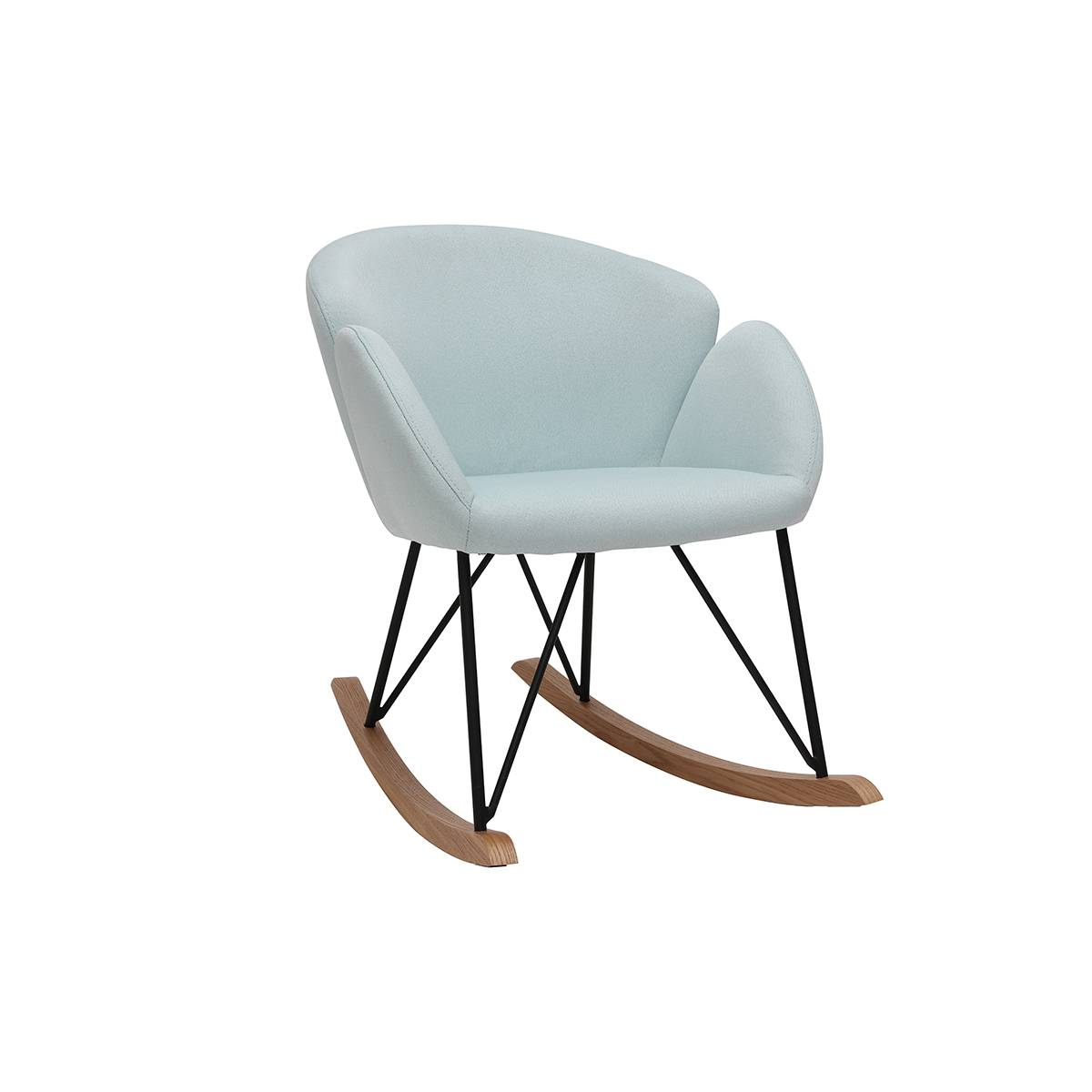 Miliboo Rocking chair design tissu menthe à l'eau RHAPSODY - Miliboo & Stéphane Plaza