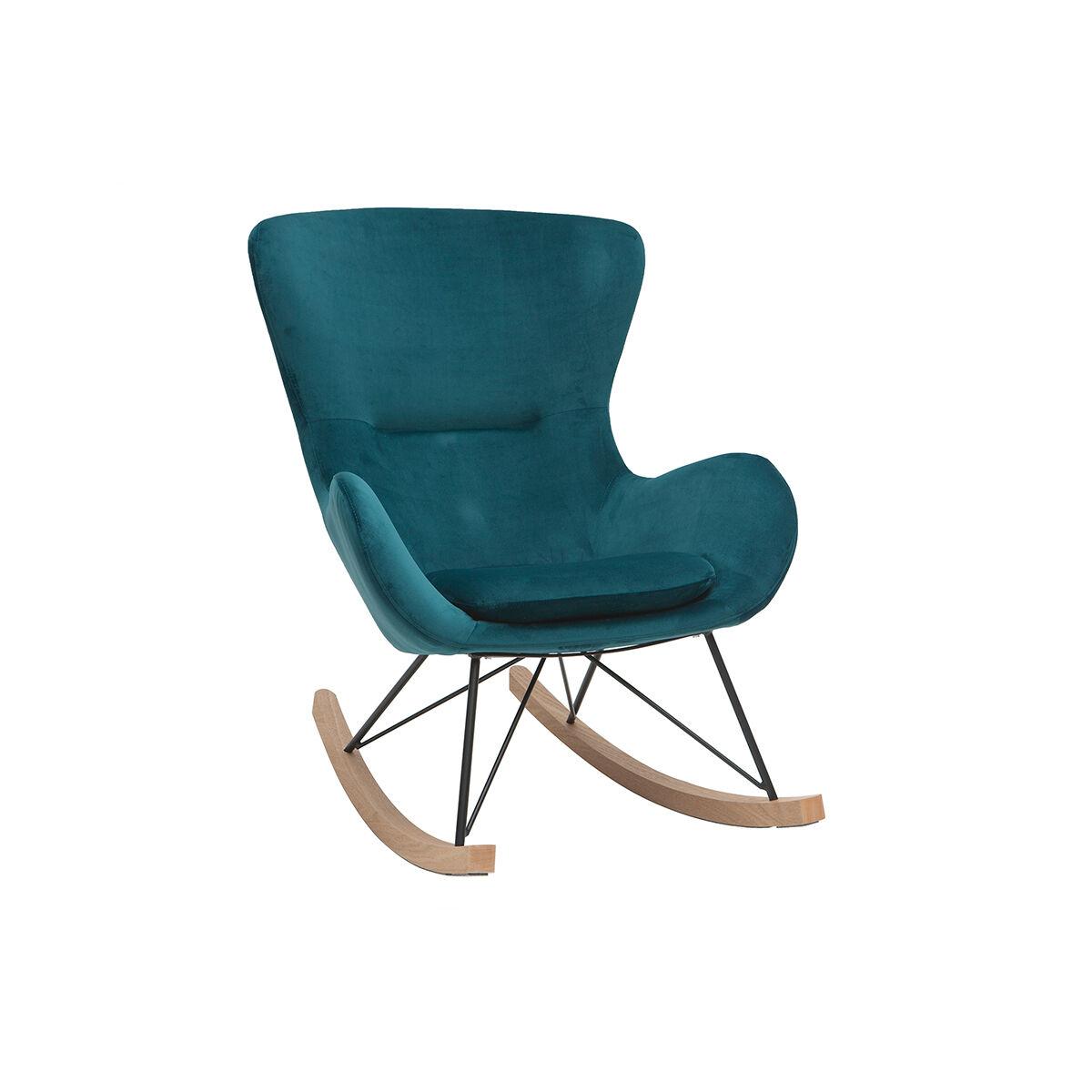 Miliboo Rocking chair design velours bleu pétrole ESKUA