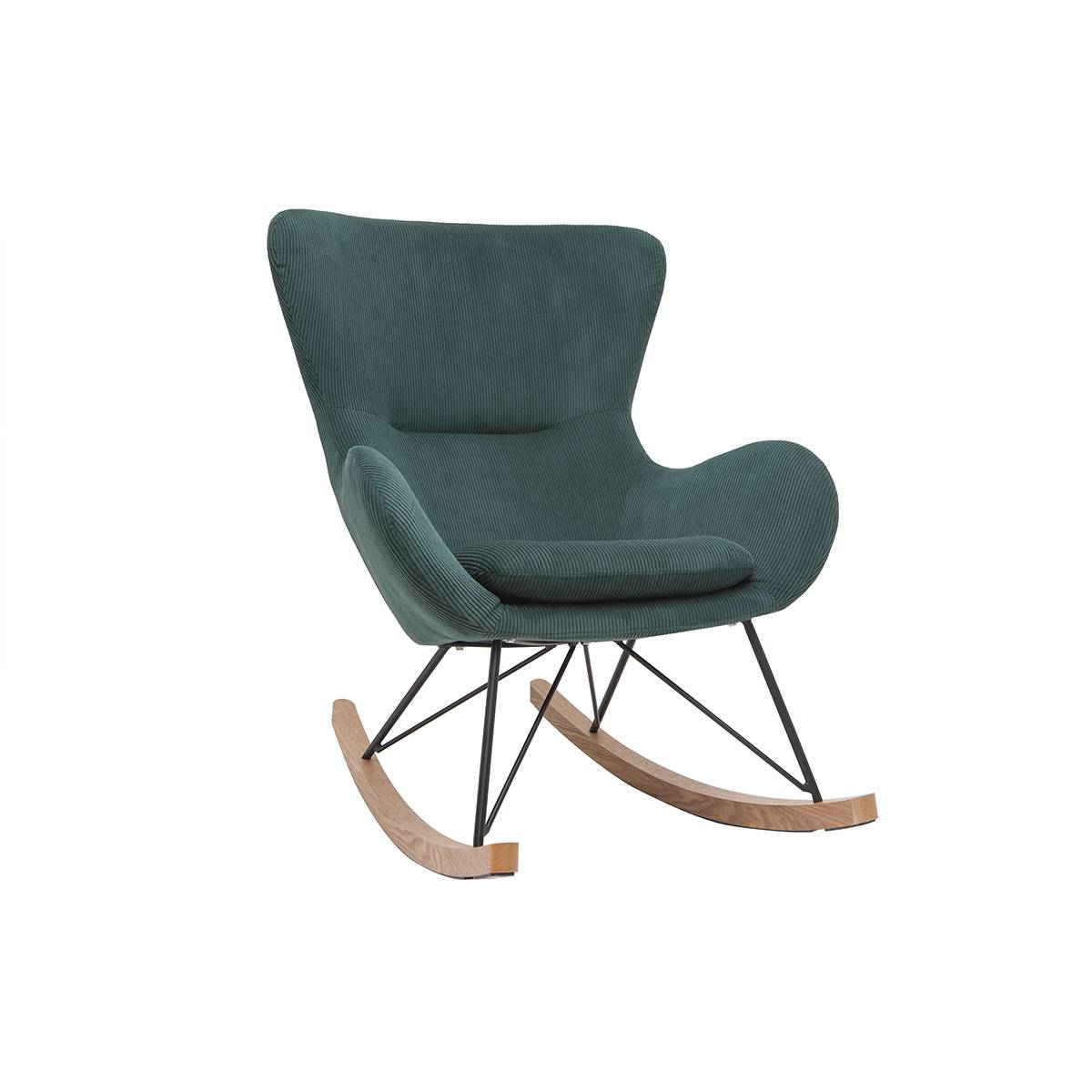 Miliboo Rocking chair design velours côtelé vert ESKUA