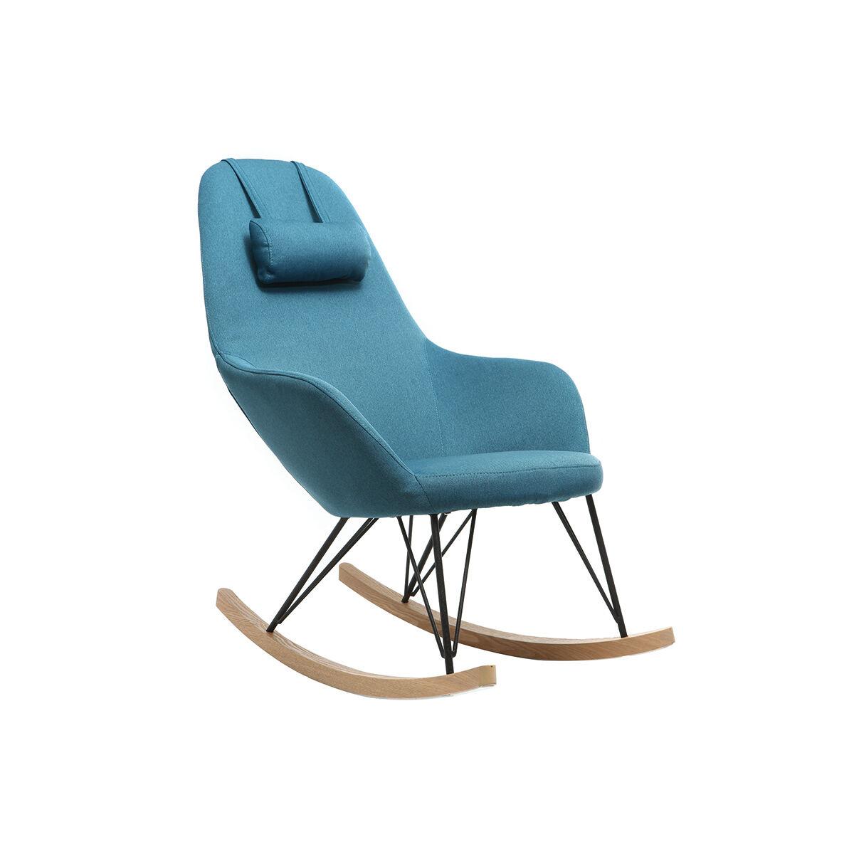 Miliboo Rocking chair en tissu bleu canard avec pieds métal et frêne JHENE