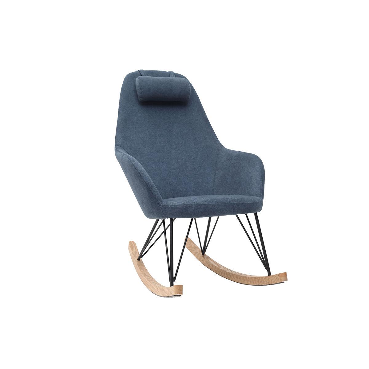 Miliboo Rocking chair en tissu effet velours bleu avec pieds métal et bois JHENE