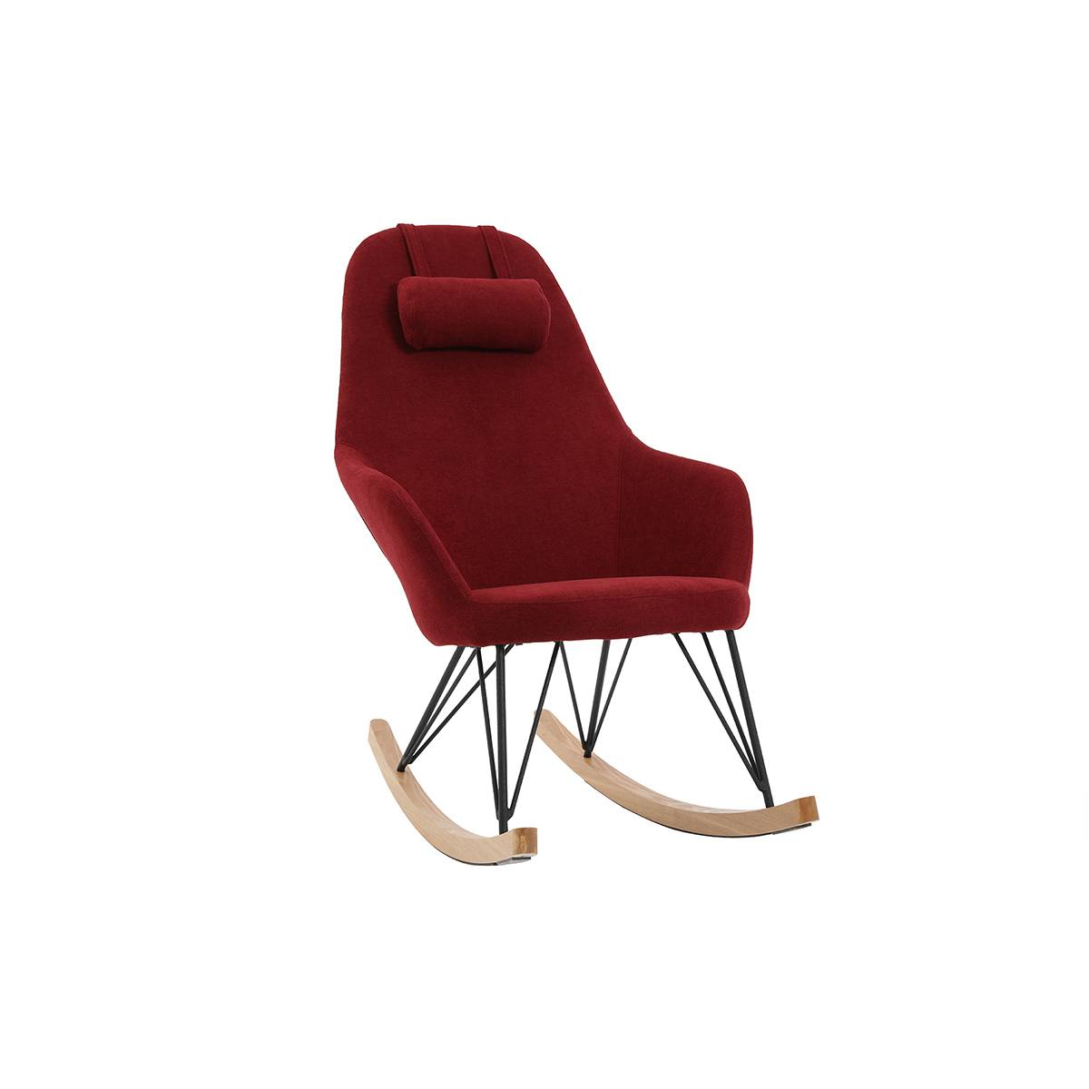 Miliboo Rocking chair en tissu effet velours bordeaux avec pieds métal et frêne JHENE