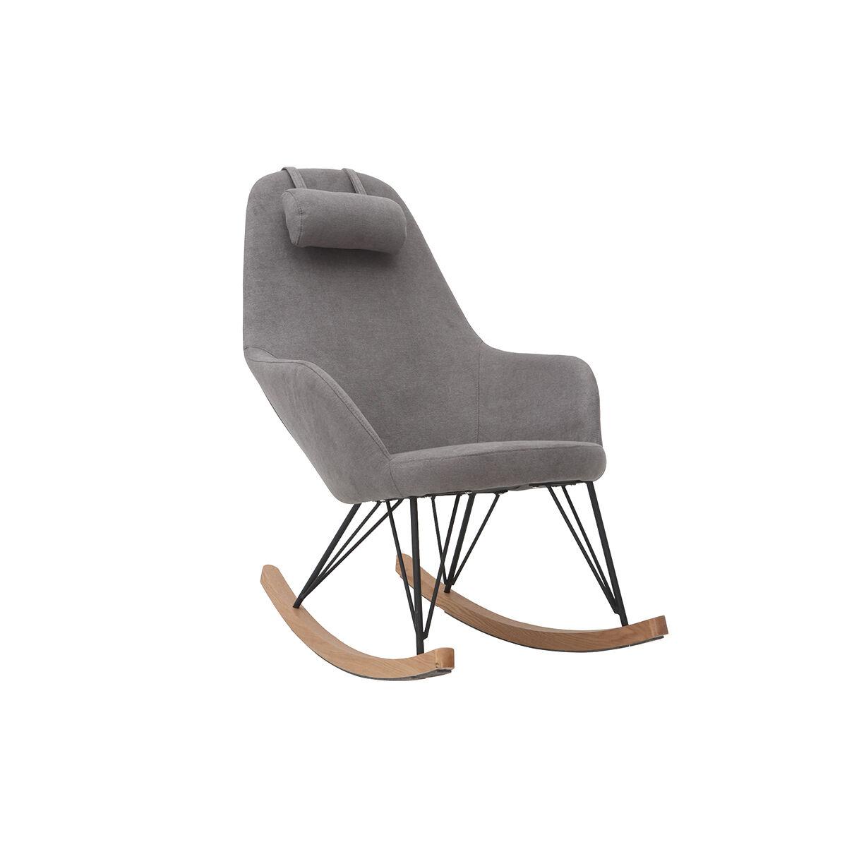 Miliboo Rocking chair en tissu effet velours gris avec pieds métal et bois JHENE