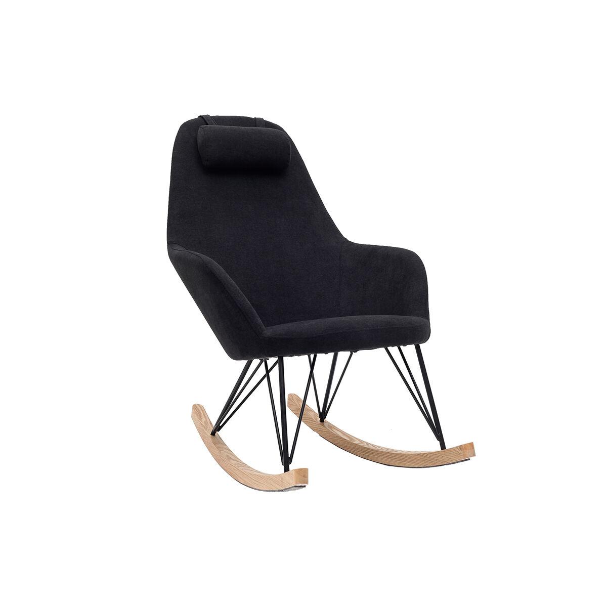 Miliboo Rocking chair en tissu effet velours noir avec pieds métal et frêne JHENE