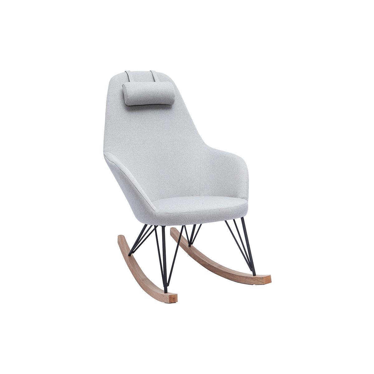Miliboo Rocking chair en tissu gris avec pieds métal et frêne JHENE