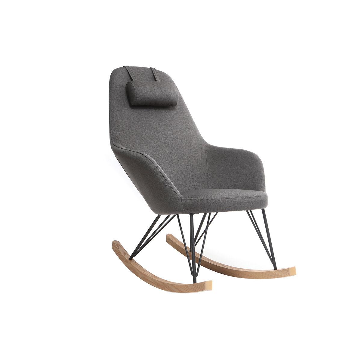 Miliboo Rocking chair en tissu gris foncé avec pieds métal et frêne JHENE