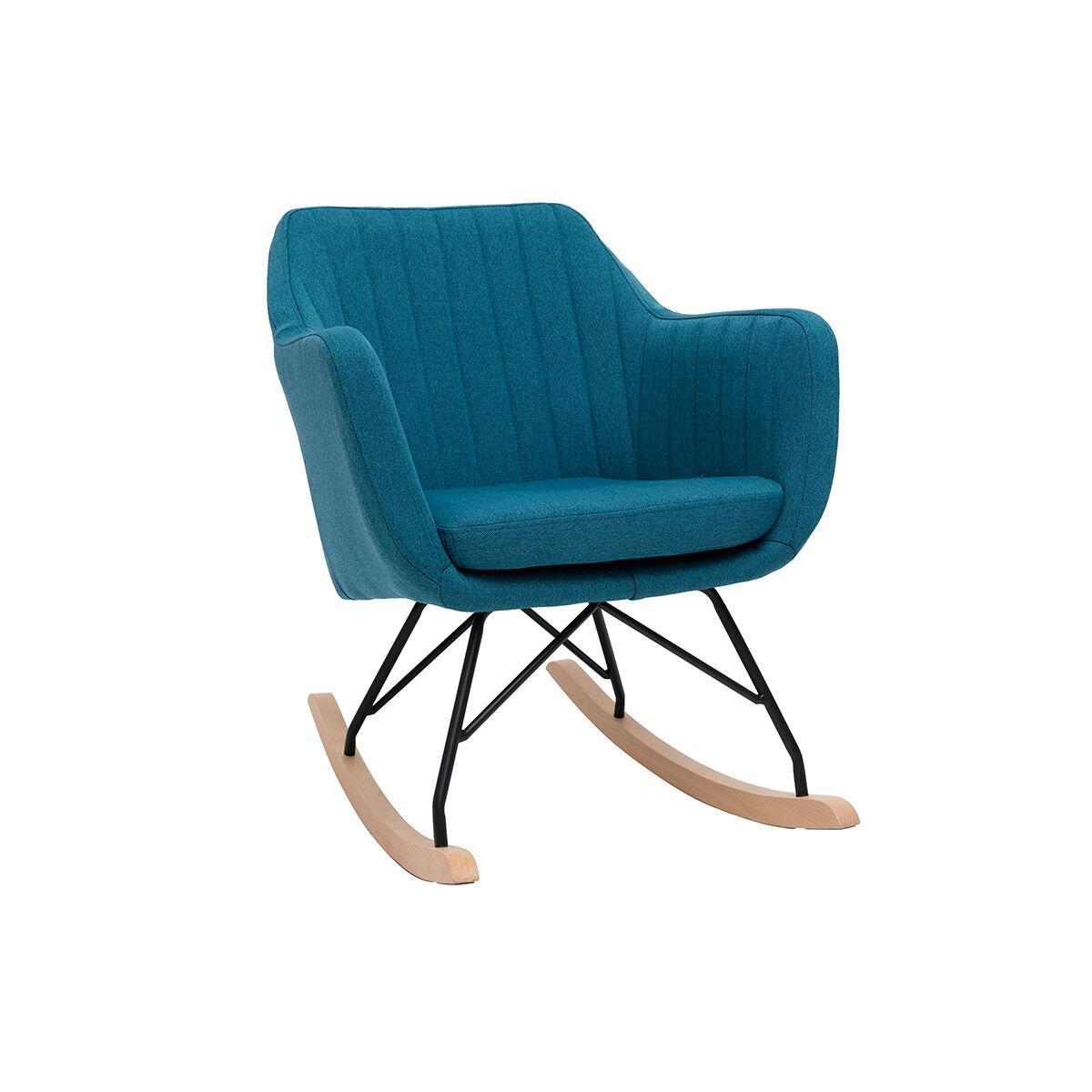 Miliboo Rocking chair scandinave en tissu bleu canard ALEYNA