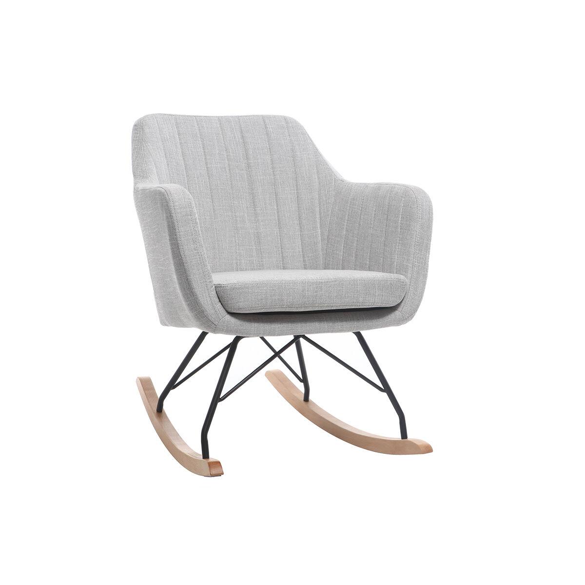 Miliboo Rocking chair scandinave en tissu gris clair ALEYNA