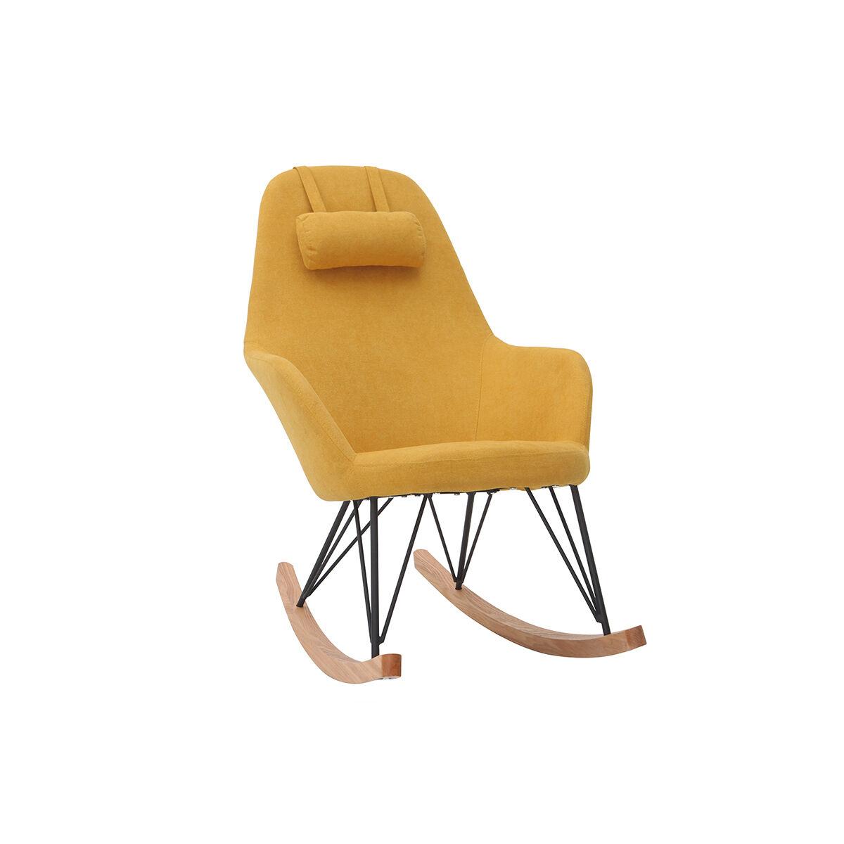 Miliboo Rocking chair tissu effet velours jaune moutarde avec pieds métal et bois JHENE