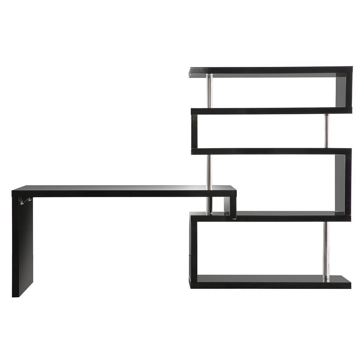 Miliboo Bureau design modulable noir laqué brillant T-MAX
