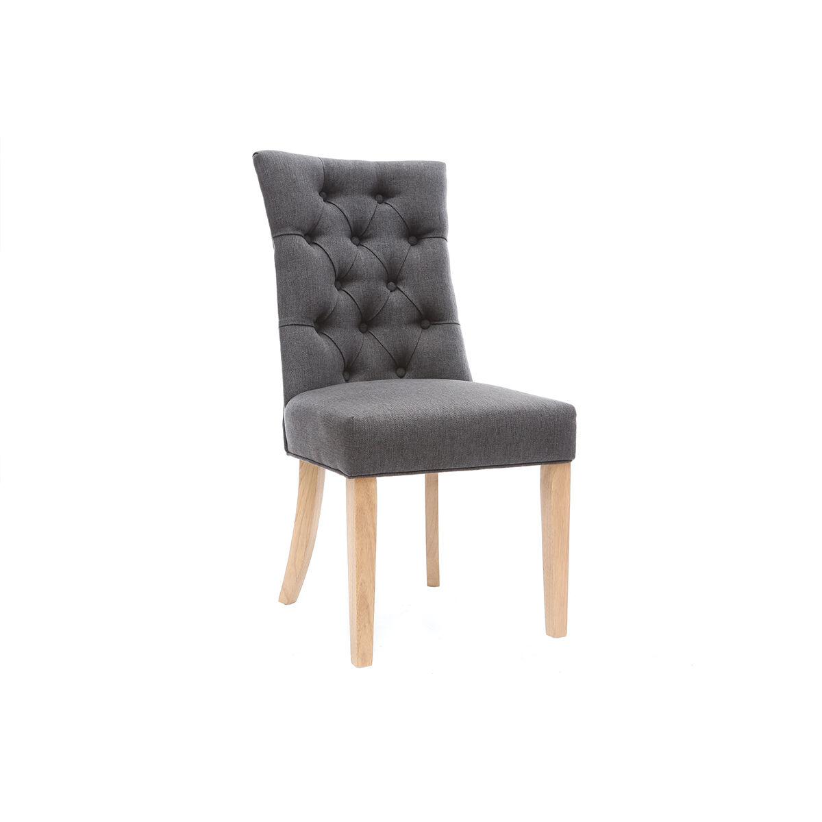 Miliboo Chaise classique en tissu gris foncé et bois clair VOLTAIRE