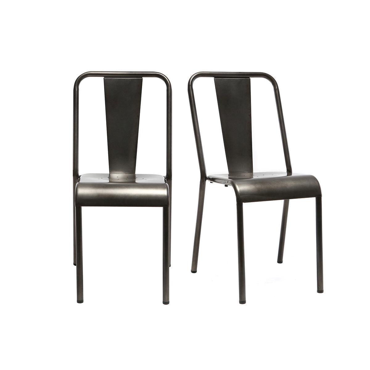 Miliboo Chaises design métal inox (lot de 2) EVAN
