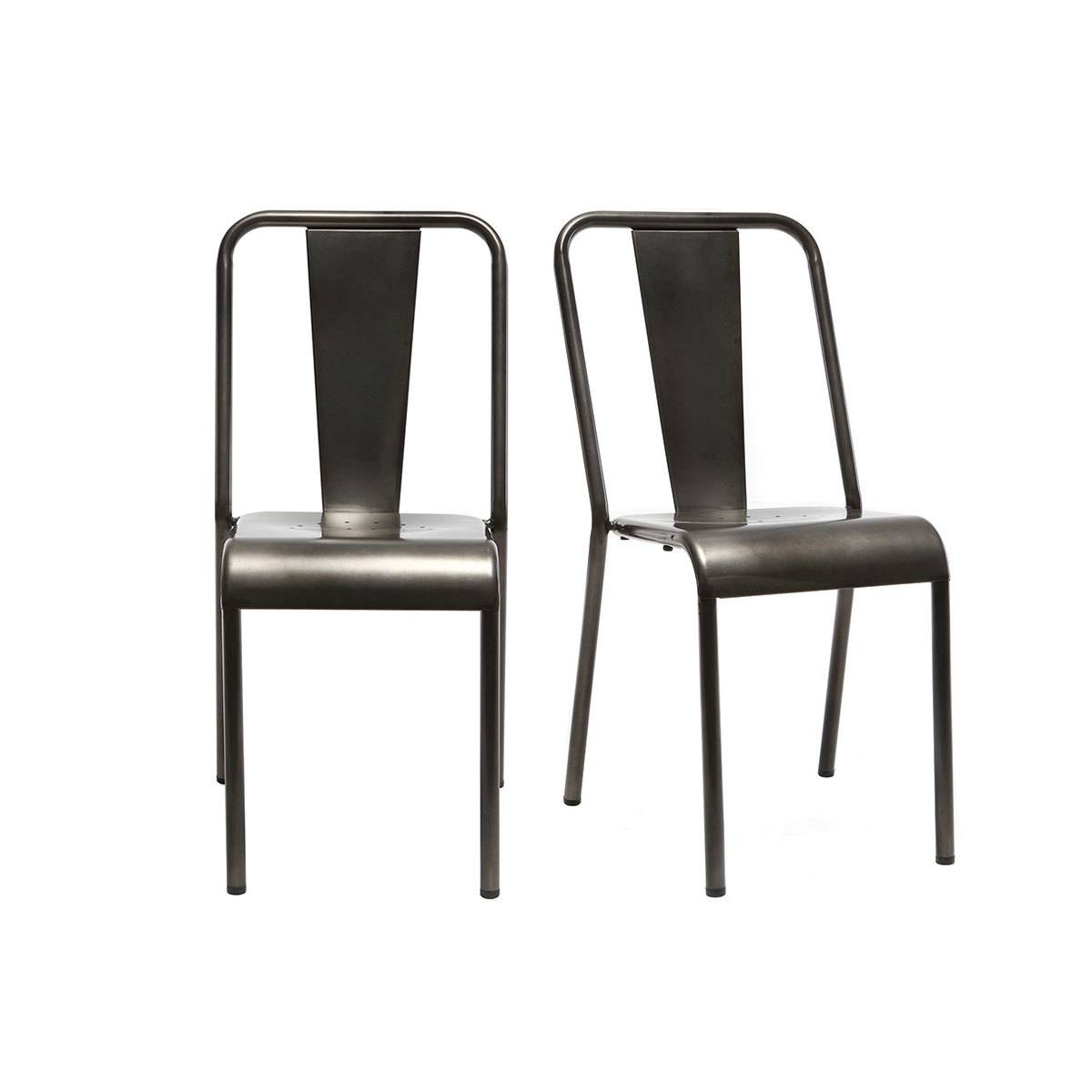 Miliboo Chaises design métal inox (lot de 2) EVAN