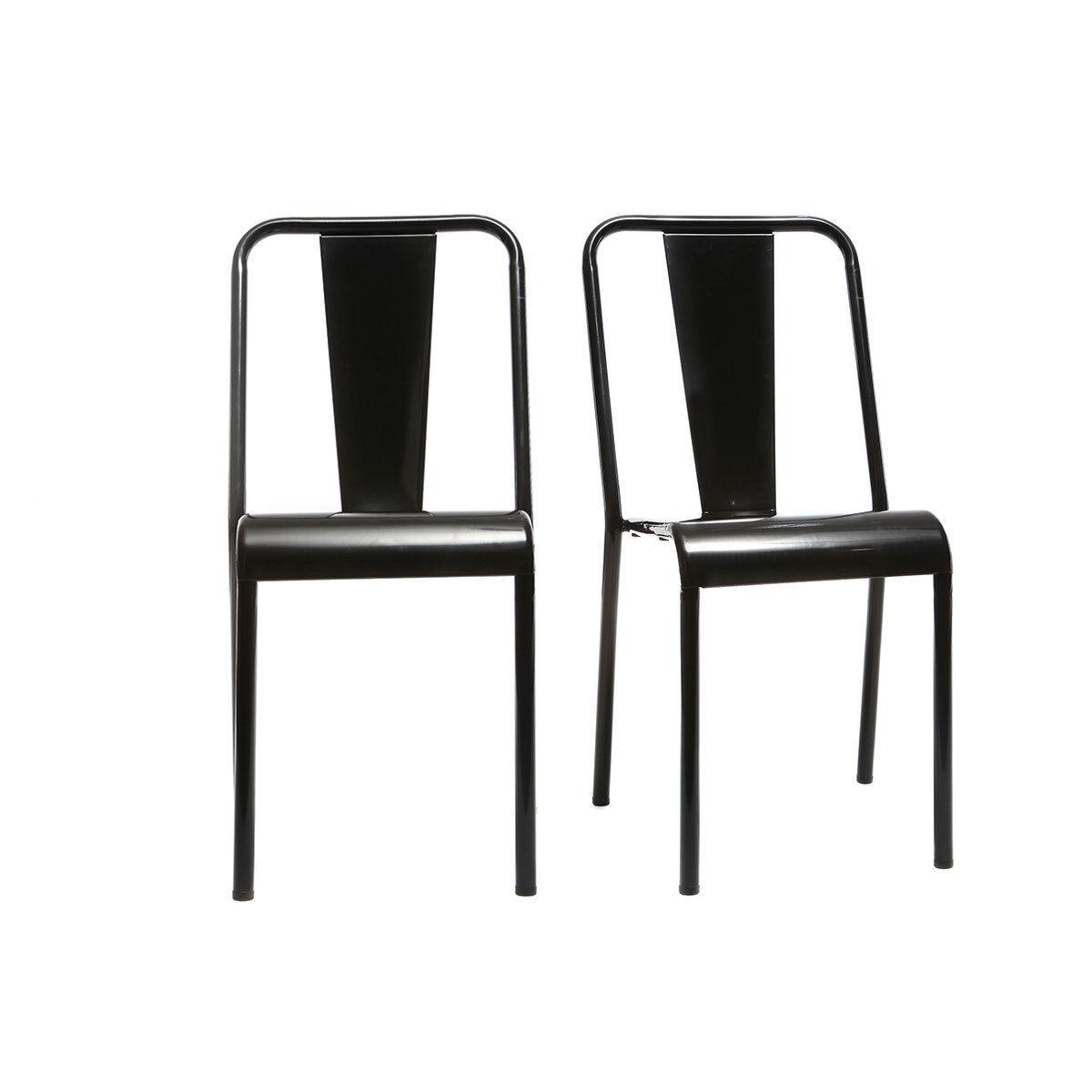 Miliboo Chaises design métal noir (lot de 2) EVAN