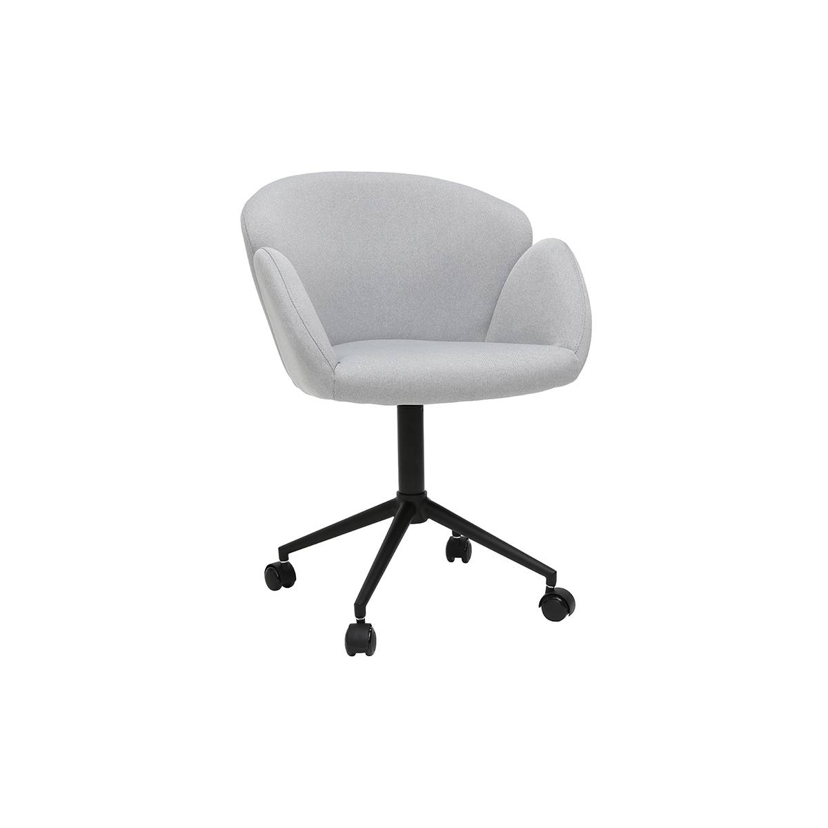 Miliboo Fauteuil de bureau design en tissu gris clair RHAPSODY - Miliboo & Stéphane Plaza