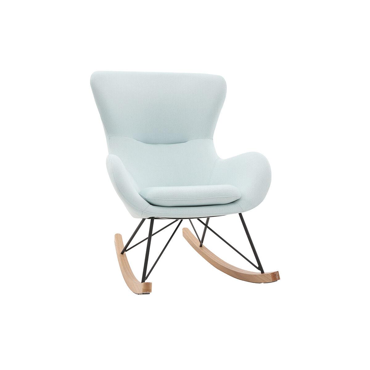 Miliboo Rocking chair design tissu menthe à l'eau ESKUA