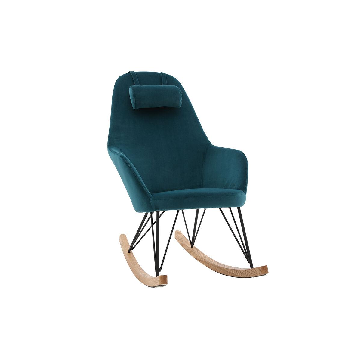 Miliboo Rocking chair scandinave en velours bleu pétrole JHENE