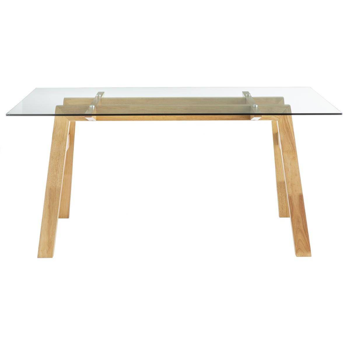 Miliboo Table à manger design en verre transparent et bois L160 cm BACCO