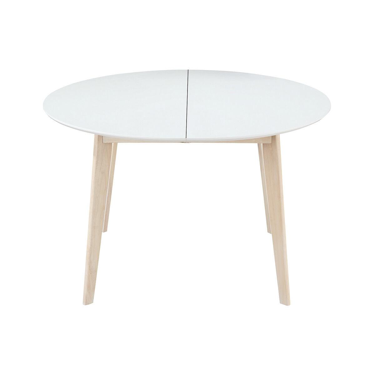 Miliboo Table à manger ronde extensible blanc et bois L120-150 cm LEENA