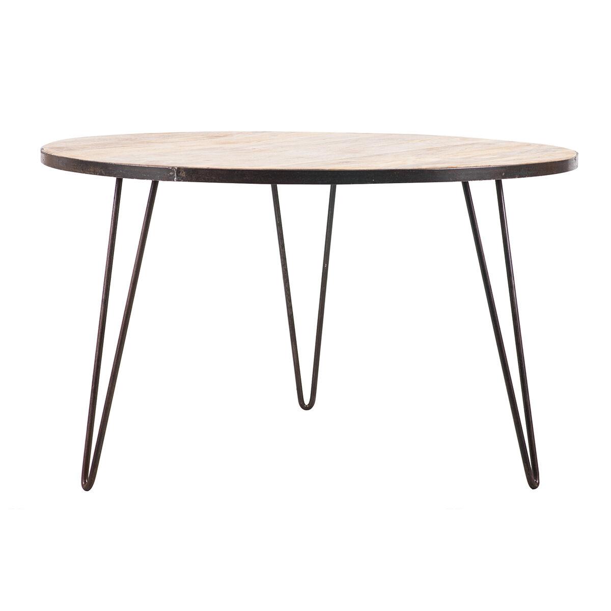 Miliboo Table à manger ronde industrielle manguier massif et métal D125 cm ATELIER